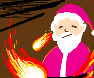 a pink santa with fire balls spining around h
