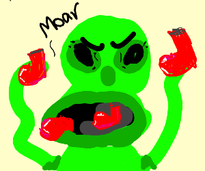 alien likes to eat red boots