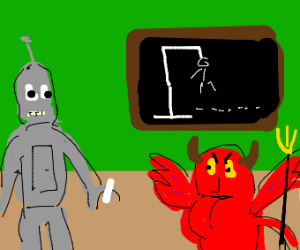 Bender playing hangman with the devil
