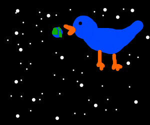 A giant bird eating the entire world