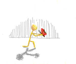Yellow stick man holding a butterfly