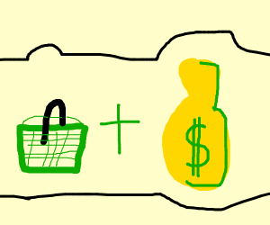 a green basket, and a yellow money bag