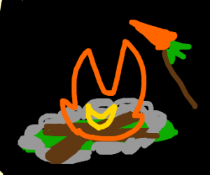 roasting a carrot over a camp fire