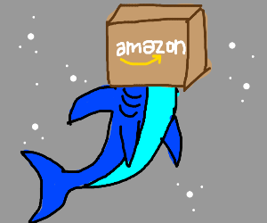 Shark with a box on its head