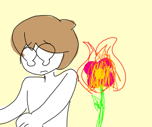 Man shock by flaming flower