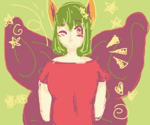 Anime fairy with fox ears winking