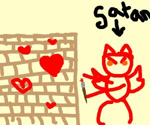 Satan paints walls with lovehearts