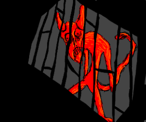 demon with snake tail in jail