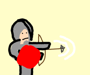 A knight shooting an arrow