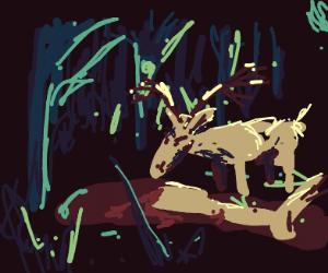 deer eating leg