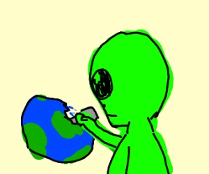 Alien erasing Earth