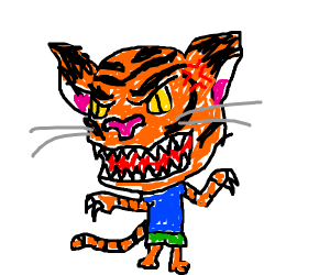 Tiger with large head is angry