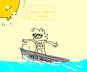 Cool guy in a speed boat