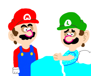 Mario with Luigi at the hospital