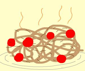 Brown hairy spaghetti