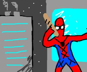Spider-Man eats a baguette