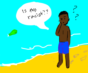 Black man @ the beach. Wait, is this racist?