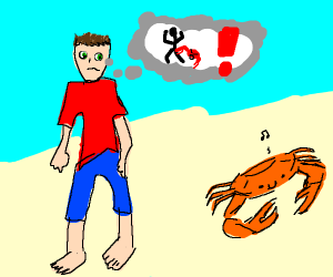 man is wary of happy crab