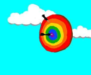 A dartboard with rainbow colors in the sky