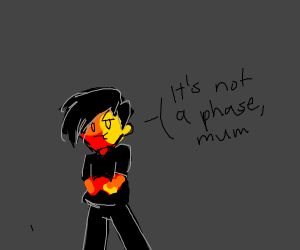 Edgy kid made out of lava