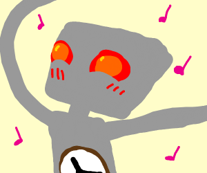 Dancing robot with a clock on its stomach