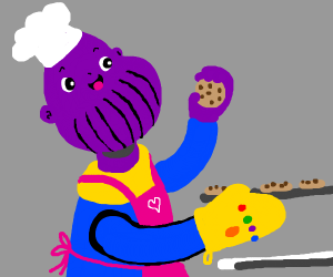 Thanos bakes cookies with the infinity mitt