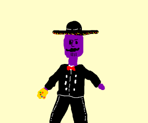 Thanos with a moustache and a sombrero