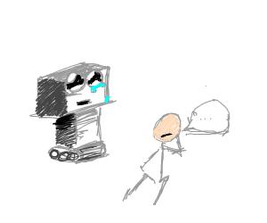 Man consults sad robot