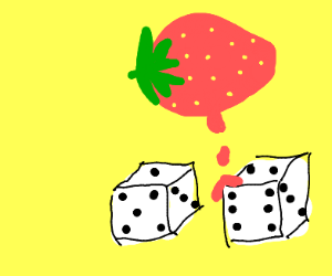 Strawberry melts all over dice