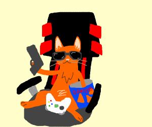 cool mlg cat with dorito and gun