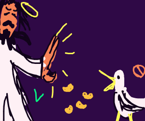 oi! those beans are for jesus, not bird!