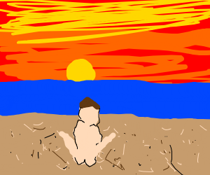 Double amputee watches beach sunset