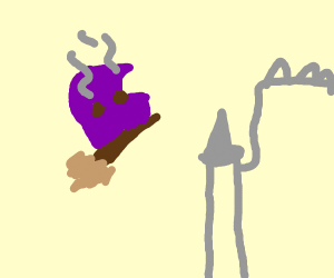 Purple grill on a broom stick to hogwarts