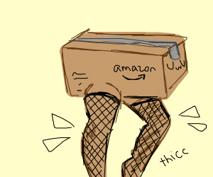 amazon box with THICC legs