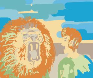 Man Shouts at Lion