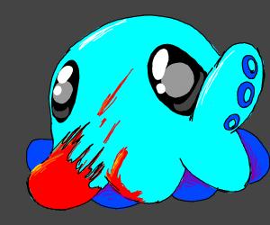 Blood splattered octopus