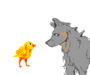 chick thinks wolf is it's mum