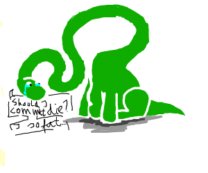 Depressed long neck dino about being fat