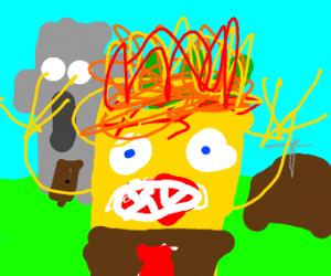 sponge bob on fire