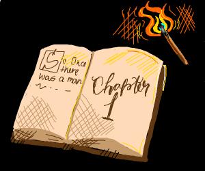 An open book and a lit match