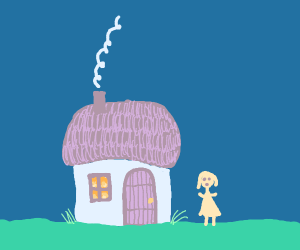 cute house in a magical land, a lady lives 2