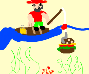 Fishing man, fishing burger