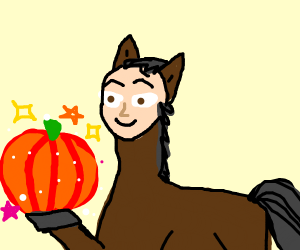 Horse With Human Face And Magic Pumpkin