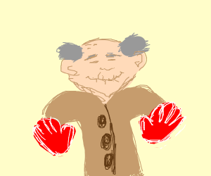 Grandfather wearing Gloves