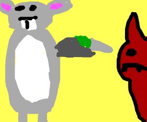 big chungus killing satan witha grey carrot