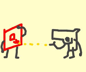 A gun shooting Roblox