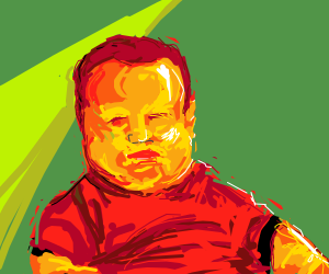 Chubby man in red shirt and he is not happy