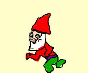 A gnome is running.