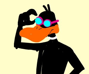 black duck with swimming glasses