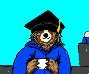 Bear graduates but hat is over his eyes
